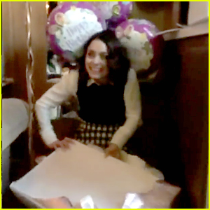 VIDEO: Vanessa Hudgens Tears Into Her Presents On Her Birthday Like It's Christmas!