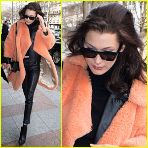 Bella Hadid's Furry Orange Coat is Giving Us All the Feels