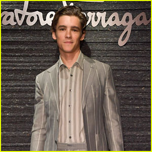 Brenton Thwaites Wears Stripes For Salvatore Ferragamo Milan Fashion Show