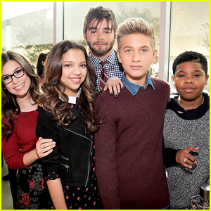 Jack Griffo Sports Scruffy Beard & Sharp Suit For Nickelodeon's New Complex Grand Opening