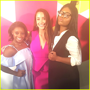 Gabby Douglas Reunites With Aly Raisman & Simone Biles at NFL Women's Summit