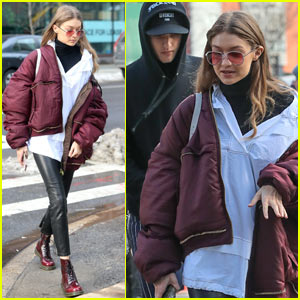 Gigi Hadid Grabs Lunch with Younger Brother Anwar Hadid in NYC