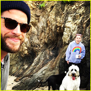 Liam Hemsworth & Miley Cyrus Spend Valentine's Day On the Beach!