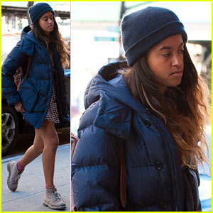 Malia Obama Rocks Cute Summer Dress Under Heavy Coat While Heading to Her Internship