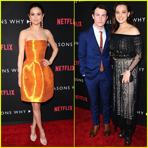 Selena Gomez, Dylan Minnette, & Katherine Langford Arrive in Style at the '13 Reasons Why' Premiere!