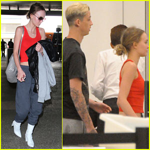 Lily-Rose Depp & Boyfriend Ash Stymest Couple Up at LAX