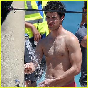 Darren Criss Showers in a Speedo on 'Versace' Set!