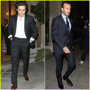 Brooklyn Beckham Looks Handsome Leaving Dinner with Dad David