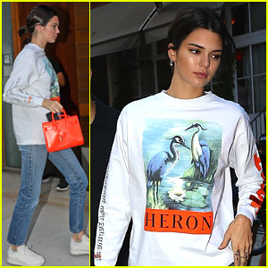 Kendall Jenner Brightens Up Outfit With Orange Bag