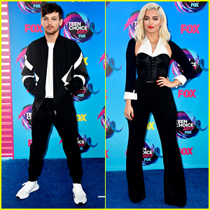 Louis Tomlinson & Bebe Rexha Match in Black & White at Teen Choice Awards 2017