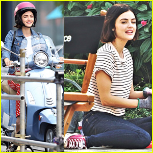 Lucy Hale Rides a Vespa & Does Some Gardening on 'Life Sentence' Set