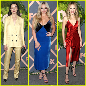 Crystal Reed Rocks Yellow Suit For Fox's Fall Party with Natalie Alyn Lind