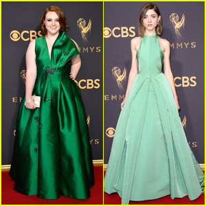 Stranger Things' Natalia Dyer & Shannon Purser Match in Green at the Emmy Awards 2017