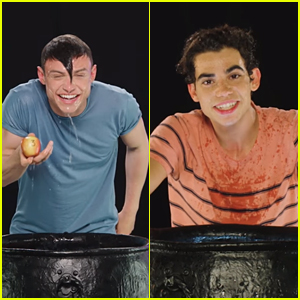 Cameron Boyce & Thomas Doherty Compete in an Apple Bobbing Challenge - Watch!