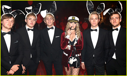R5 Puts Gender Reversal Spin on Hugh Hefner & Bunnies Costume for Halloween 2017!