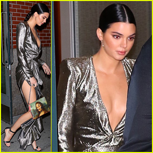 Kendall Jenner Sparkles in Plunging Silver Gown During Night Out