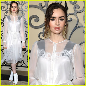 Lily Collins Is a Vision In White at Givenchy Fashion Show