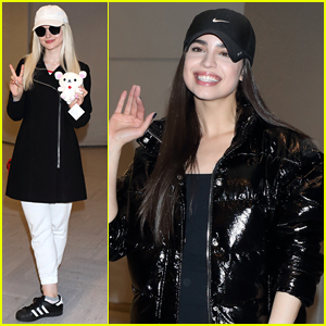 Dove Cameron & Sofia Carson Arrive in Tokyo for 'Descendants 2' Promo