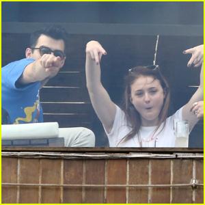Joe Jonas & Sophie Turner Get Silly While Hanging Poolside