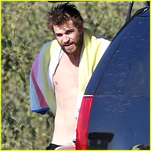 Shirtless Liam Hemsworth Shows Off His Muscles at the Beach