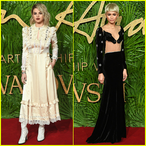 Selena Gomez & Zendaya Both Rock Blonde Hair at Fashion Awards 2017