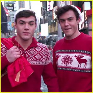 The Dolan Twins Hand Out Random Christmas Presents In Times Square
