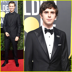 Nominees Ansel Elgort & Freddie Highmore Suit Up For Golden Globes 2018