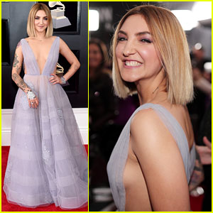 Julia Michaels Wears Lavender Butterfly Dress at Grammys 2018