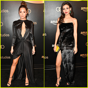 Ashley Tisdale & Victoria Justice Show Some Leg at Amazon's Globes Party