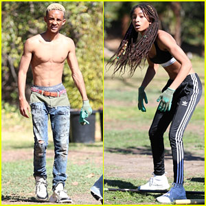 Jaden Smith Goes Shirtless While Gardening With Sister Willow & Girlfriend Odessa Adlon