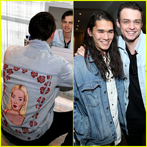 Thomas Doherty Wears Dove Cameron's Face on His Jacket for 'Descendants' Reunion With Booboo Stewart