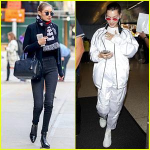 Gigi Hadid Looks Sleek in All Black While Bella Hadid Keeps It Chic in White