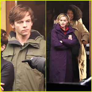 Ross Lynch & Kiernan Shipka Film Outside a Movie Theater For 'Sabrina'
