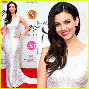 Victoria Justice Dazzles in Silver Sequin Dress at Kentucky Derby