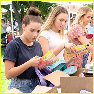 Maddie & Mackenzie Ziegler Pack 750 Backpacks For LA Foster Care Kids