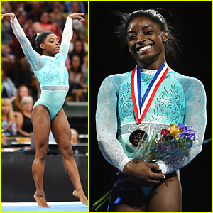 Gymnast Simone Biles Wears Teal Leotard for Sexual Assault Awareness While Winning Her 5th National Title