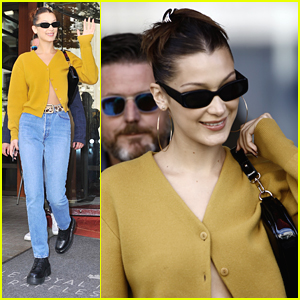 Bella Hadid Wears Yellow Cardigan Out in Paris