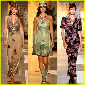 Gigi Hadid, Bella Hadid, & Kaia Gerber Bring the Outdoors to the Runway for Anna Sui Fashion Show
