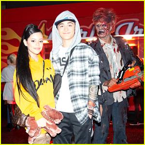 Jenna Ortega & Asher Angel Transform Into Ariana & Pete for JJ Halloween Party!