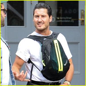Val Chmerkovskiy Wears His Backpack Backwards In NYC