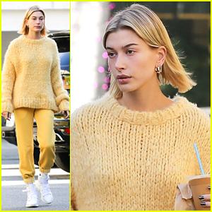 Hailey Bieber Wears Cozy Yellow Sweater & Pants in LA