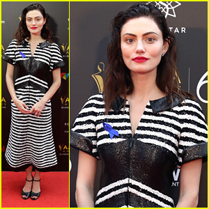 Phoebe Tonkin Attends AACTA Awards 2018 Wearing Blue Ribbon For Detention Center Awareness