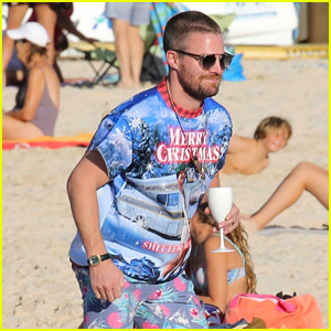 Stephen Amell Gets Festive at the Beach in St. Barts!