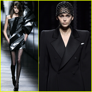 Kaia Gerber Sports Two Looks for Saint Laurent Fashion Show