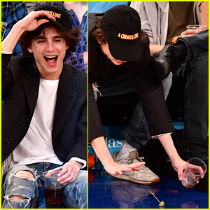 Timothee Chalamet Laughs It Off After Dropping His Drink!