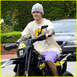 Justin Bieber Rides His New Motorbike Around Los Angeles