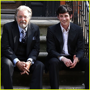Logan Lerman Laughs With Al Pacino on 'The Hunt' Set in NYC