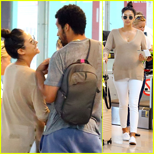 Pregnant Shay Mitchell Laughs At Partner Matte Babel At The Airport