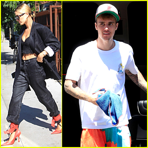 Hailey Bieber Looks Chic at Lunch While Justin Rehearses at Dance Studio