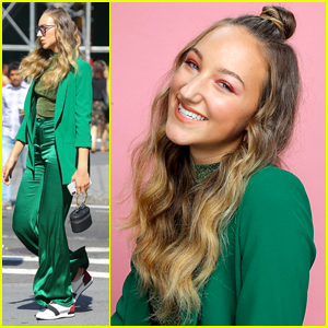 Ava Michelle Looks Gorgeous in Green While Promoting 'Tall Girl' in NYC